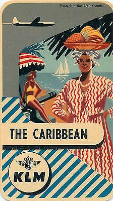 Holland Klm Royal Dutch Airlines To The Caribbean Vintage Luggage Label