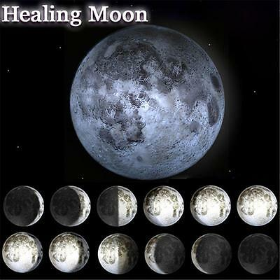 LED Wall Hanging Lamp Moon Relaxing Healing Night Light W/ Remote Control New