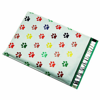 100 10x13 Puppy Paws Designer Poly Mailers Envelopes Boutique Custom Bags