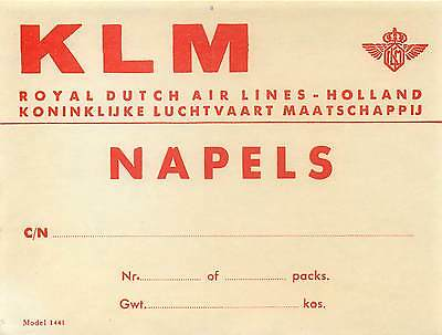 Klm Royal Dutch Airlines To Napels Napoli  Italy Old Cargo Aviation Label