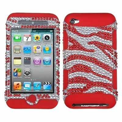 For Apple iPod Touch 4th Gen Red Silver Zebra Tuff Hard Hybrid Case Cover