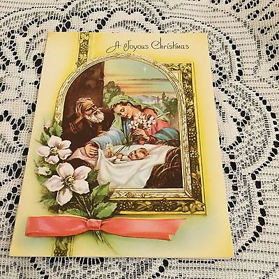 Vintage Greeting Card Christmas Religious Mother Child Pink Ribbon
