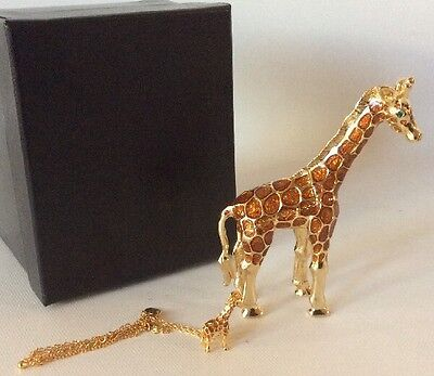 Beautiful Enamel And Crystal Giraffe Trinket Box And Necklace Set
