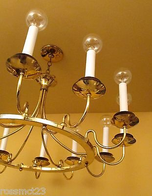 Vintage Lighting matched pair huge Mid Century Modern chandeliers. 36 wide