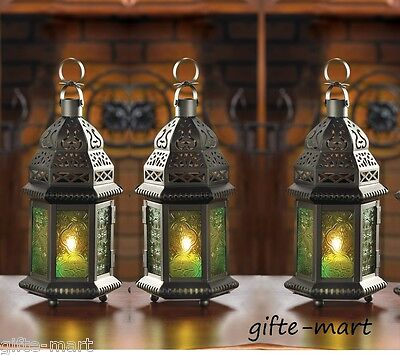 "10 GREEN Moroccan 10"" tall Candle holder Lantern light wedding table centerpiece"
