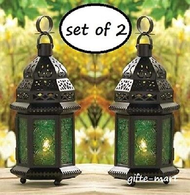 2 GREEN Moroccan Candle holder Lantern Lamp terrace outdoor garden patio table