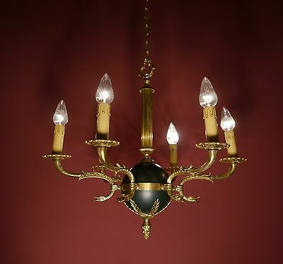 6 Light Brass French Empire Chandelier Vintage Lamp Ancient Antique