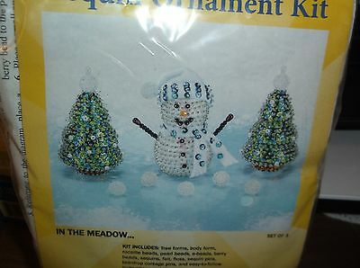 Vintage Sunrise SNOWMAN CHRISTMAS TREES Bead Sequin Ornament Kit IN THE MEADOW