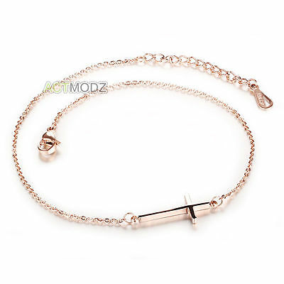 Women Rose Gold Plated Stainless Steel Crucifix Cross Foot Anklet Chain Bracelet