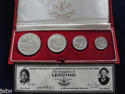 Lesotho. 1966 4 Coin Silver Proof Set.  5,10,20,50 Licente.. Cased with C of A.