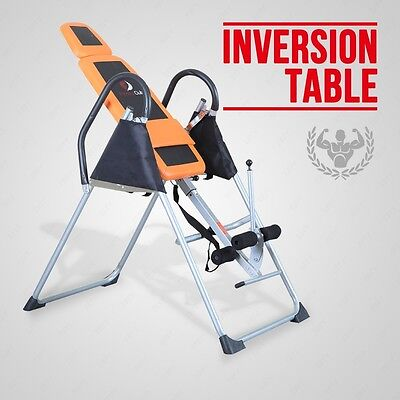 Orange + Black Exercise Fitness Inversion Table Chiropractic Table Pain Relief