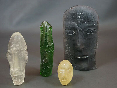 1980's Contemporary Art Cast Glass Sculpture Composition 4 Surrealistic Faces
