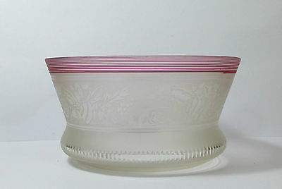 Fantastic Victorian Floral Etched Oil Lamp Shade With Cranberry Line Detailing