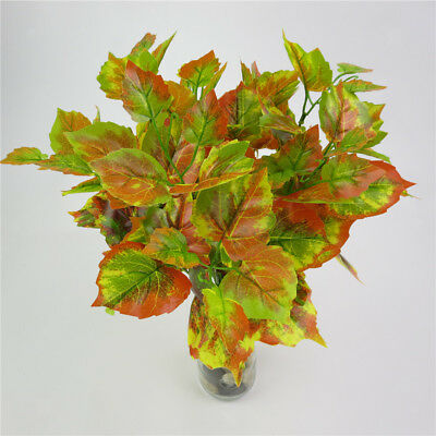 Artificial Red Maple Plants Green Leaves Foliage Bus Outdoor Indoor Decor