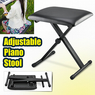 Adjustable Height High Quality Pro X Frame Keyboard Bench Piano Stool Seat New