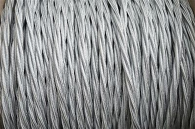 1 meter silver 3 core hanging light flex wire braided twisted MADE IN UK B9