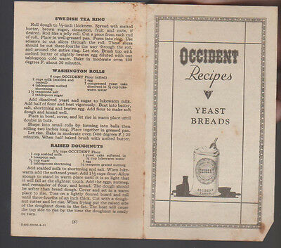 Occident Flour Recipes Yeast Breads Brochure 1931