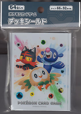 Pokemon Card Sun and Moon Rowlet Litten Popplio Sleeve Sealed Pack (64) 66x92mm