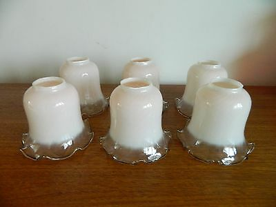 Stunning Vintage  Pink /Clear Lamp Shades Great Condition! Pretty Selling Singly