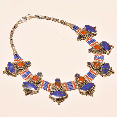 New Arrival Lapis Lazuli With Red Coral For Son Gift.925 Silver Jewelry Necklace