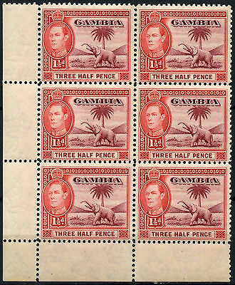 Gambia 1938-46 SG#152a 1.5d Brown-Lake & Scarlet MNH KGVI Block Of 6 #D38253