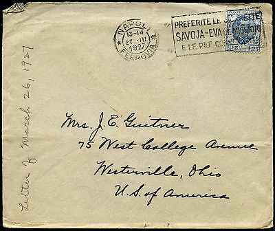 Italy 1927 Slogan Cover To USA #C38443