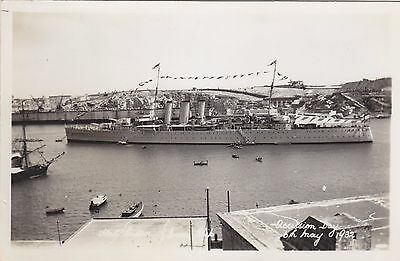 Malta, Grand Harbour, Accession Day, H.M.S. Sussex, 1932,