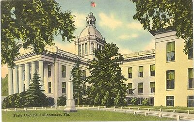 Vintage Florida Linen Postcard Tallahassee State Capitol