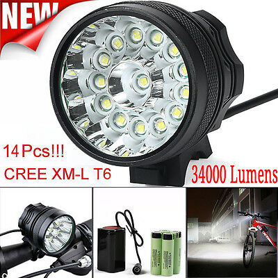 34000LM 14 x CREE XML T6 LED Headlight Bicycle Head Lamp Light +6x 18650 Battery