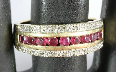 ZMR Signed 14K Yellow Gold Round Channel Set Ruby & Diamond Ring Size 7 - 3.3 g
