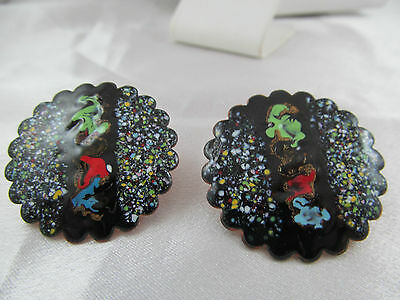 Vintage ENAMEL PAINTED COPPER SCREW-BACK EARRINGS, Very Colorful, Scalloped edge