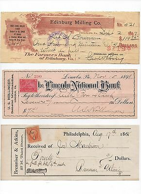 3~1868-1907~Bank Checks Signed~Revenue Stamps~Edinburg,va~Lincoln,pa,philly