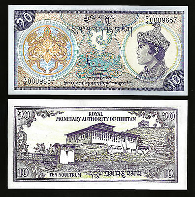 Bhutan 10 Ngultrum 1986 Unc 20 Pcs Consecutive Lot P.15A Low Serial