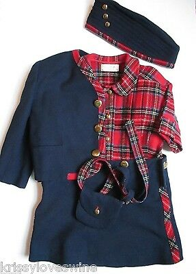 VTG Girls Custom Made Coordinating Outfit Blazer Skirt Purse Hat Plaid Navy 70s