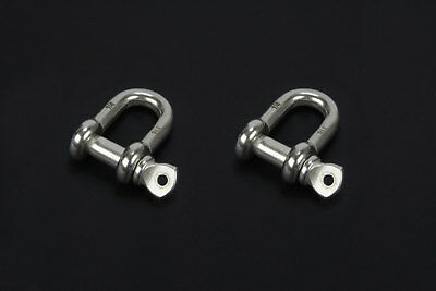 "1/4"" Chain Shackle Clevis Bow Ring 316 Stainless Steel Sailboat Rigging 2PCS"