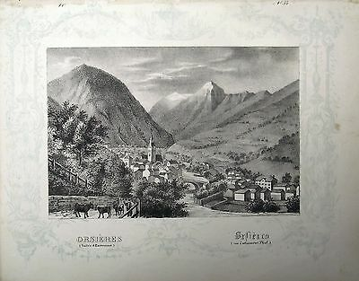 1825 Fine and rare stone lithography Orsières Entremont Valais