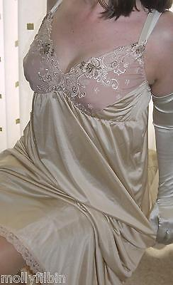 Stunning gold silky nylon long lace bra full slip~nightie~gown size large BNWOT