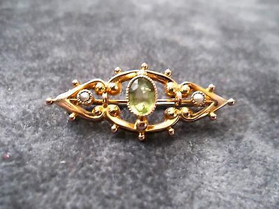 Antique Victorian Marked 9Ct Gold Apple Green Chrysoprase & Seed Pearl Brooch