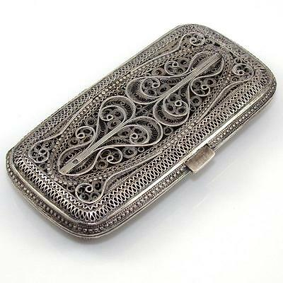 Vintage Antique Sterling Silver Filigree Cigarette Holder Vesta Case Box