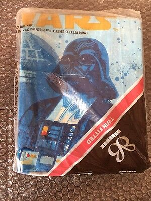 Star Wars Space Fantasy vintage twin fitted sheet by BIBB 1977 Darth Vader