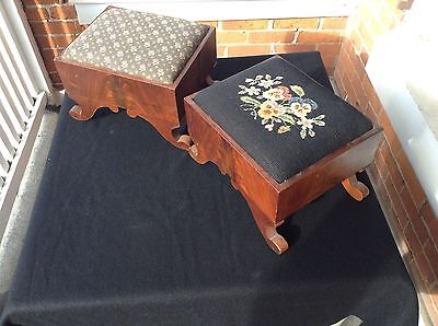 Antique Pair Of Empire Flame Or Crotch Mahogany Dovetailed Foot Stools