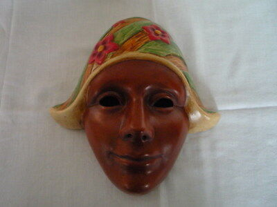 Vintage Retro 50s 60s ? Kitsch Holland Girl Face Wall Mask Plaque Terracotta