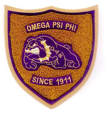 "OMEGA PSI PHI Chenille Bulldog Shield Patch  6"" x 5 1/2"""
