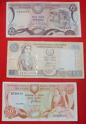 CYPRUS - 3 x Used Banknotes