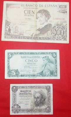 SPAIN - 3 x Used Banknotes