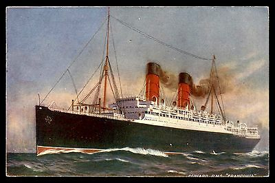 Cunard ship steamer RMS Franconia old artist used postcard