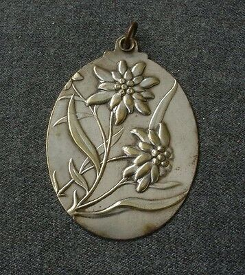 Antique Early 1900 Large Flowers & Leaves Bouquet Silver Plated Pendant