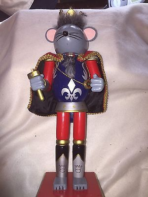 "14"" Nutcracker Mouse Figurine Statue Wooden Hand Painted Christmas  '08"