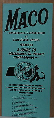 1969 Massachusetts Campground Owners MACO Travel Guide and Map