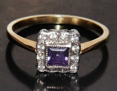 Victorian 9ct Yellow Gold on Silver Amethyst & Paste Set Cluster Ring - size P